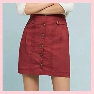 NWT Anthropologie Button Front Stretch Twill Skirt